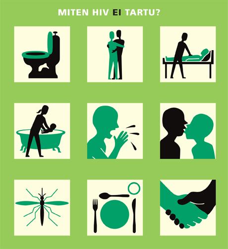 Miten hiv ei tartu? 9 kuvaa siitä, miten hiv ei tartu. Hiv ei tartu vessanpöntöstä, hiv ei tartu halatessa, hiv ei tartu hoitotilanteissa, hiv ei tartu lasta hoitaessa, hiv ei tartu aivastuksen kautta, hiv ei tartu suudellessa, hiv ei tartu suutelemalla, hiv ei tartu hyttysen pistosta, hiv ei tartu yhteisistä ruokailuväklineistä, hiv ei tartu kätellessä, hiv ei tartu arkielämän tilanteissa.