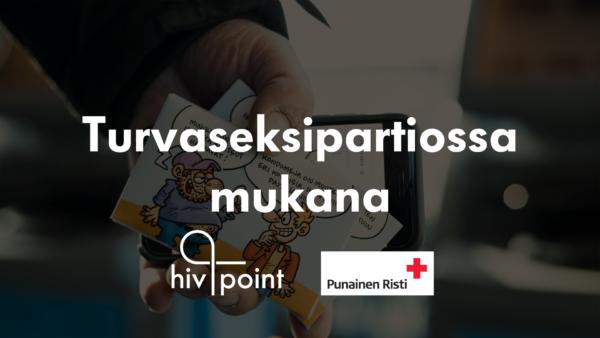 turvaseksipartio tarjoaa ilmaisia hiv-testejä raja-asemilla. Kampanjaa tekevät Hivpoint ja Punainen risti SPR. Kuvassa matkailijan käsi, jossa puhelin ja kondomipakkaus, jossa kaksi miestä.