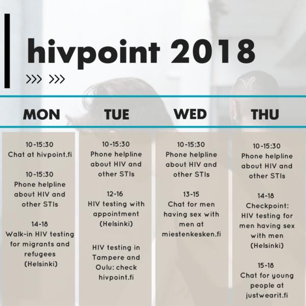 Hivpoint 2018 calendar - English