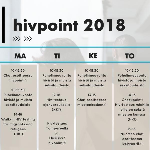 Hivpoint aikataulut 2018