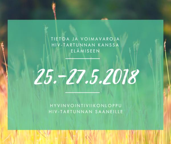 mainos viikonloppukurssista hiv-tartunnan saaneelle. 25.-27.5.2018