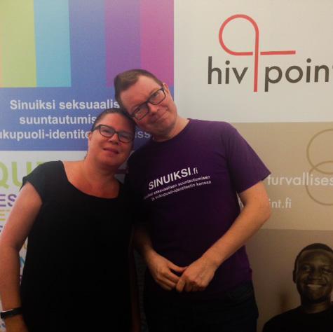 Kuvassa kaksi työntekijää paikoista Hivpoint Tampere ja Sinuiksi Pirkanmaan Seta. Avoimet ovet 5.10.2018.