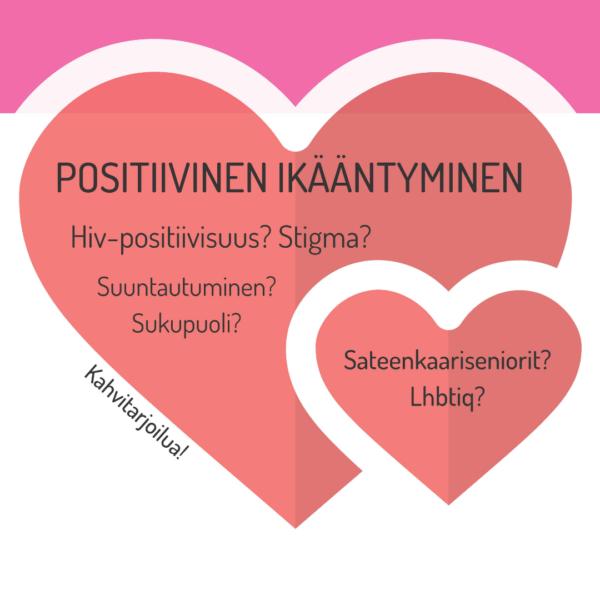 Kuvassa kaksi sydäntä, joiden sisällä teksti Posiitivinen ikääntyminen. Seminaari Oulussa