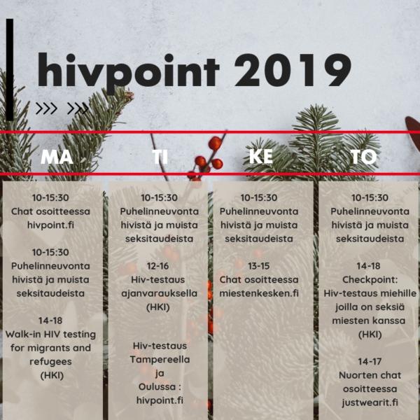 Hivpoint 2019 aikataulut korjattu