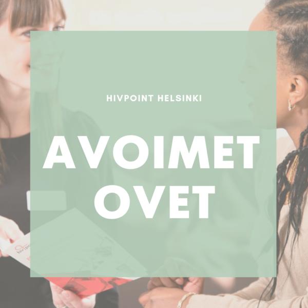 Kuvassa kaksi naista. Päällä teksti: Avoimet ovet Hivpoint Helsinki.