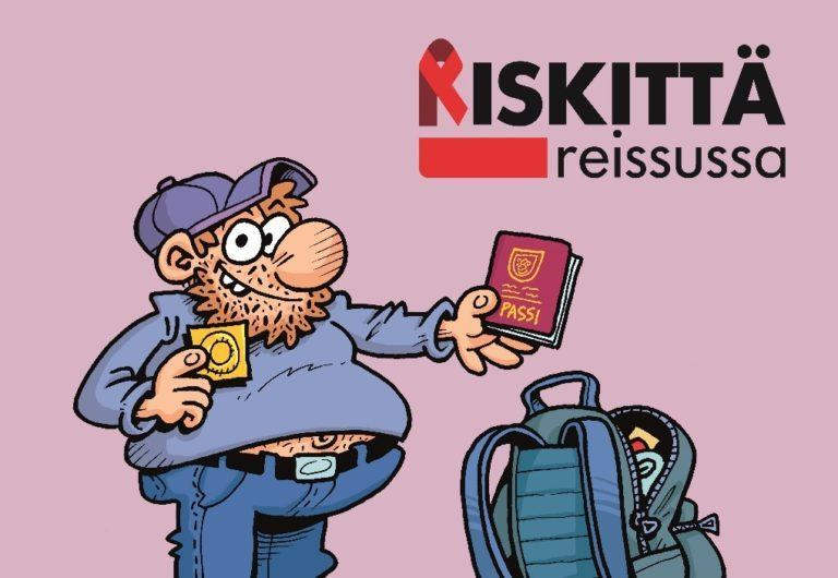 Sarjakuvamies on lähdössä matkalle. Hänellä on passi yhdessä kädessä ja kondomi toisessa kädessä.