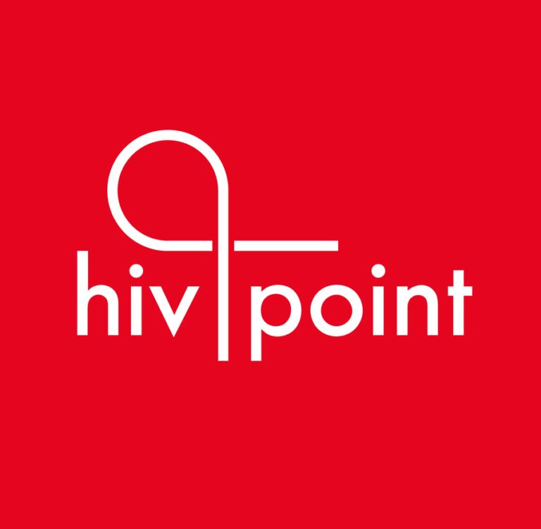 Hivpointin logo valkoisella tekstillä punaista taustaa vasten.
