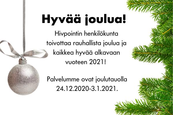 Joulukoriste ja kuusen oksa, teksti, jossa toivotetaan hyvää joulua