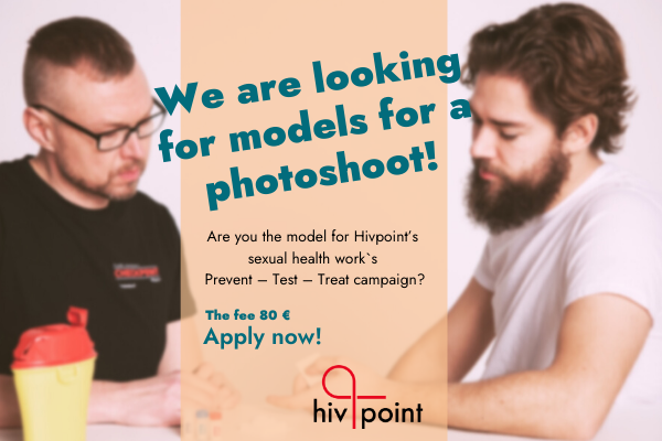 an ad where two men assumed are in the HIV testing situation. The text: we are looking for models.