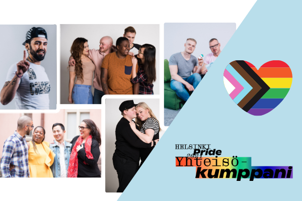 Kuvakollaasi erinäköisistä ihmisistä. Sydämenmuotoinen pride-lippu ja Pride-yhteisökumppanilogo.