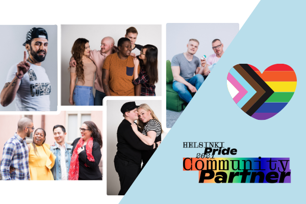 A collage of people. Pride flag and logo.