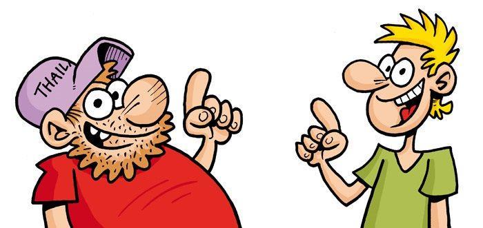 kaksi piirroshahmoa osoittaa sormella