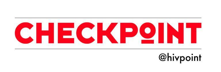 Checkpoint hiv-pikatestauspalvelun logo. Teksti punaisella Checkpoint @ Hivpoint.